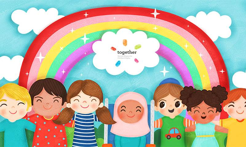Illustration shows children standing under a rainbow with Together's logo.